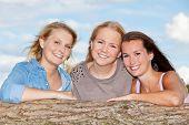 Three girls spending time outside
