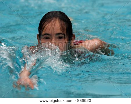 Picture or Photo of Happy teen girl swimming in the pool
