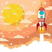 stock photo of moon silhouette  - Silhouette cartoon rocket taking off against the backdrop of the moon and clouds - JPG