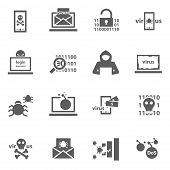 picture of virus  - Set of cyber virus digital protection hacker attack icons - JPG
