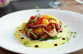 stock photo of octopus  - Appetizer with grilled octopus - JPG