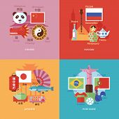 foto of pronunciation  - Set of flat design concept icons for foreign languages - JPG