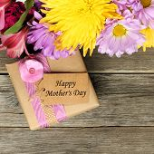 pic of day-lilies  - Border of flowers with gift box and Happy Mother - JPG