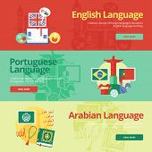 picture of pronunciation  - Flat design banners for english - JPG