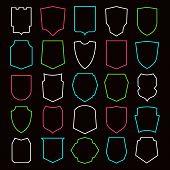 stock photo of shield  - Shield contour icons set - JPG