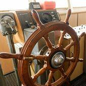 stock photo of nautical equipment  - Ship control bridge navigation nautical drive sea - JPG