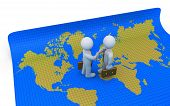 stock photo of united we stand  - Two businessmen who shake hands are standing on a world map - JPG