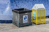 pic of recycle bin  - the trashcan in park - JPG