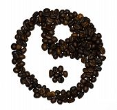 stock photo of yin  - Coffee beans shaped into a yin and yang symbol  - JPG