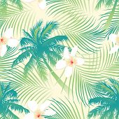 picture of hawaiian flower  - Tropical palm tree with flowers seamless pattern  - JPG
