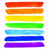 stock photo of stroking  - vector set of 7 colorful watercolor rainbow brush strokes isolated on white background - JPG