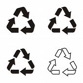 pic of reuse recycle  - Different vector black recycle symbol icons collection isolated - JPG