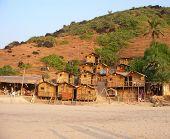 foto of bagpack  - arambol beach bamboo huts goa india (bagpackers paradise)  - JPG