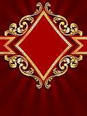 Vertical diamond shaped red banner with gold filigree
