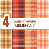 stock photo of tartan plaid  - Tartan and Plaid Seamless Vector Pattern Set for Your Projects - JPG