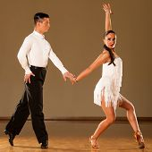 stock photo of samba  - latino dance couple in action  - JPG