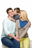 pic of father time  - Cheerful family of three enjoying time together - JPG