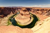 stock photo of bend  - Horseshoe Bend is a well known tourist attraction close to Page in Arizona - JPG
