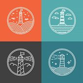 stock photo of lighthouse  - Vector lighthouse logo design templates in trendy linear style  - JPG