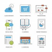 picture of line  - Flat design modern vector illustration concept for cloud services - JPG