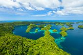 stock photo of pacific islands  - Beautiful view of Palau tropical islands and Pacific ocean from above - JPG