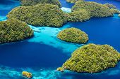 image of pacific islands  - Beautiful view of Palau tropical islands and Pacific ocean from above - JPG