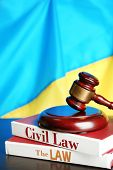stock photo of magistrate  - Wooden gavel and flag of Ukraine as background - JPG