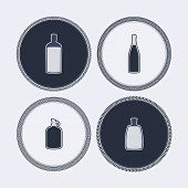pic of vodka  - 4 alcohol bottles icons shows off different bottles shapes like a vodka and a beer. Pictured here from left to right -  bourbon champagne wine vodka. - JPG