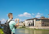 pic of memento  - Tourist man taking photo of Florence - JPG