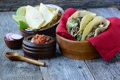 picture of tacos  - Steak Tacos with chips and salsa on Wooden Background - JPG