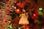 image of christmas angel  - Crystal angel ornament hanging on the Christmas tree - JPG