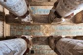 picture of carving  - Hieroglyphs And Carved Paintings On The Ceiling Of The Dendera Temple - JPG