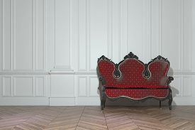 pic of carving  - Vintage red upholstered carved wood sofa in a classic minimalist white paneled room in a luxury house interior - JPG