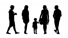 picture of ordinary woman  - silhouettes of ordinary men and women walking outdoor back and profile views - JPG