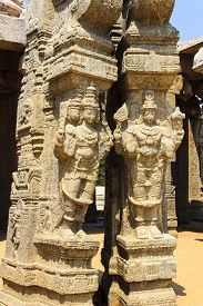 stock photo of brahma  - Statue of Lord Brahma and Vishnu at kalyana mandapa of Veerabhadra temple at Lepakshi - JPG