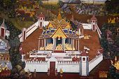 Traditional Thai Style Art Painting On Temple's Wall (ramayana Story)