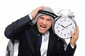 stock photo of arab man  - Arab man with clock isolated on white - JPG