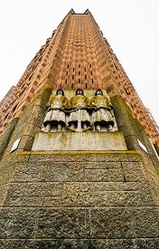 stock photo of expressionism  - De Bazel is a monumental building on the west side of the Vijzelstraat in Amsterdam - JPG
