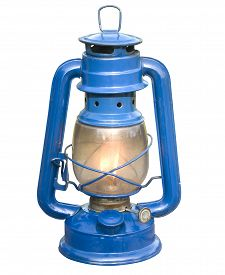 picture of kerosene lamp  - Old blue kerosene lamp on isolate background - JPG