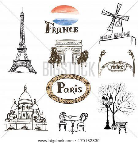 Paris icons set