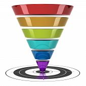picture of conversation  - conversion funnel over a white background with a target - JPG