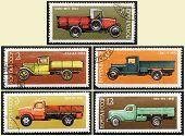 Caminhão velho russo de selos, definir