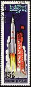 Rocket Start On Mongolian Post Stamp
