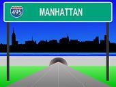 Midtown manhattan, el túnel y la Interestatal 495 signo ilustración
