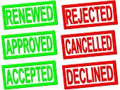 renewed, approved, accepted, rejected, cancelled and declined red and green transparent stamps