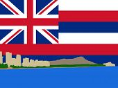 Waikiki Skyline and Diamond Head oahu Hawaii against Hawaiian Flag illustration