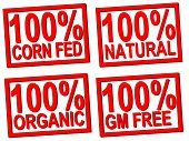 one hundred percent corn fed,organic, natural, GM transparent stamps for food photos