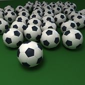 Soccer balls against a green background