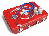 Stethoscope, Thermometer And Drugs On Red First Aid Case