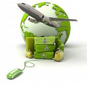 The Earth, a plane taking off, a pile of luggage including suitcases, briefcases, golf bag, connecte